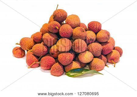 Mound of Lychees (Litchi chinensis) on a white background. Also known as Litchi Laichi or Lichu.