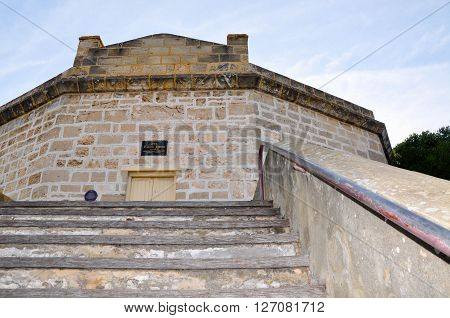 FREMANTLE,WA,AUSTRALIA-JANUARY 26,2016: The Round House tourist attraction with limestone architecture in Fremantle, Western Australia.
