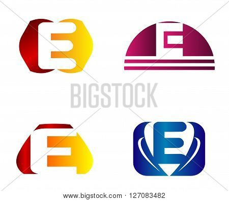 Set of letter E logo icons design template elements. Collection of vector signs