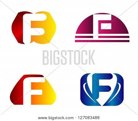 Set of letter F logo icons design template elements. Collection of vector signs