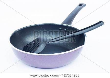 Non stick frying pan on white background, stock photo