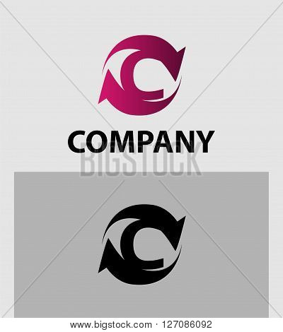 Vector illustration of abstract icons of letter C