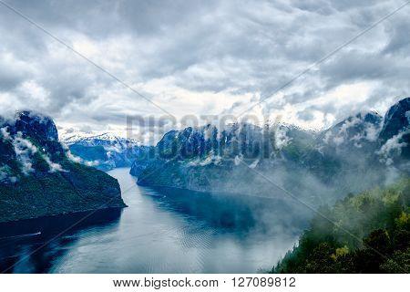 Beautiful Nature Norway natural landscape. Hardanger fjorden, Norway