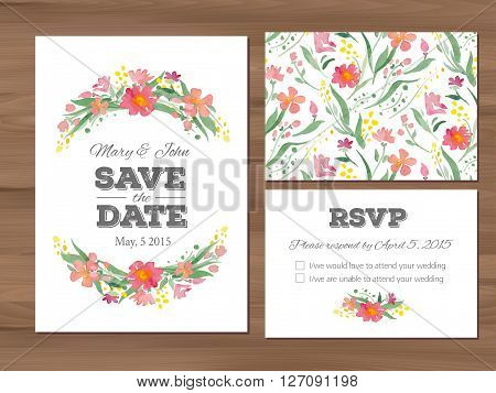 Wedding set with watercolor flowers and typographic elements. Save the date invitation, RSVP card, seamless floral background. Seamless illustrator swatch for background included.