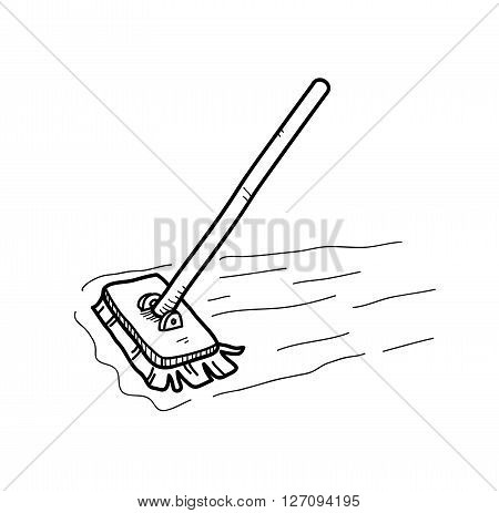 Mopping the Floor Doodle, a hand drawn vector doodle illustration of a mop, mopping the floor.