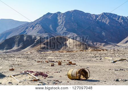 View of mountain and desert at Nazca Air Field in Peru