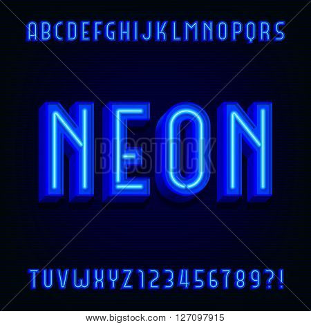 Neon alphabet vector font. 3D type letters with blue neon tubes and shadows. Vector typeface for your design.