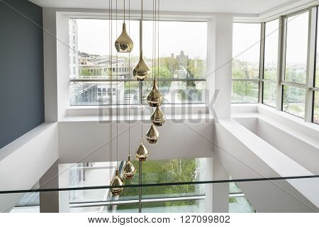 chandelier in a luxury duplex apartment room