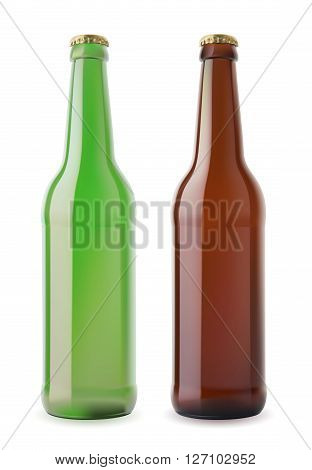 Green and brown beer bootles with caps on white.