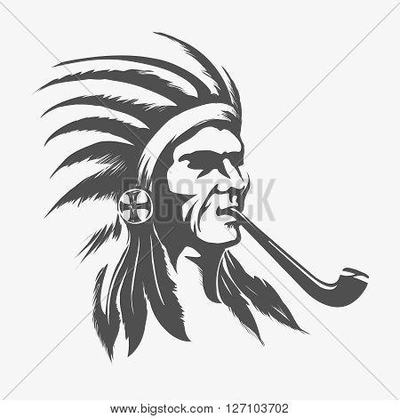 Native american indian face for logo or emblem vector illustration