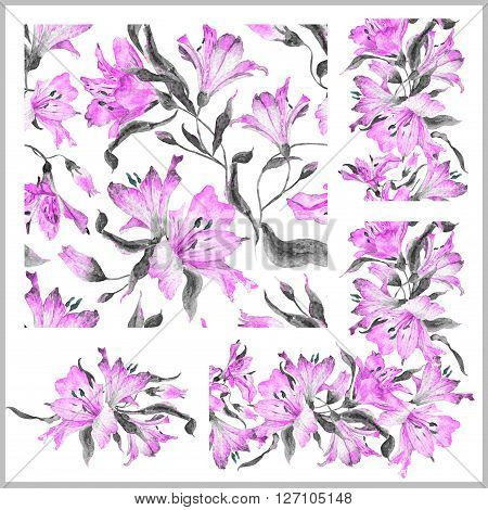 Set with seamless pattern, frieze, corner and other elements. Watercolor flowers. Spring and summer motifs. Can be used for any your design.