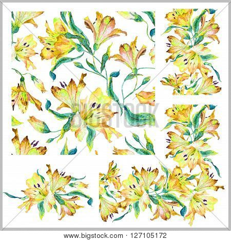 Set with seamless pattern, frieze, corner and other elements. Yellow watercolor lilies. Watercolor flowers. Spring and summer motifs. Can be used for any your design.