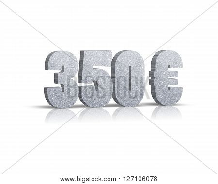350 Euro - 3d word with reflection !