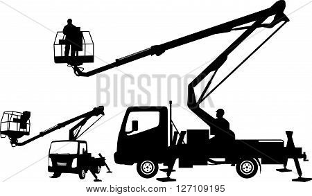 bucket truck - cherry picker mobile lift silhouettes