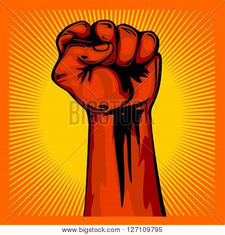 Hand Up Proletarian Revolution - Fist of revolution. Human hand up on sunny background.