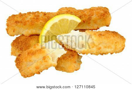 Cooked chunky bread crumb covered cod fish fingers with lemon isolated on a white background