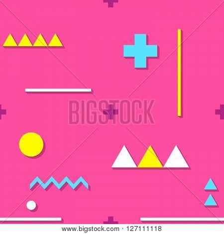 Vibrant Memphis style pink flat geometric seamless vector pattern.