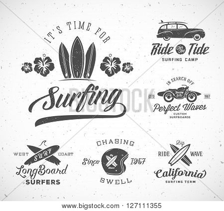 Vector Retro Style Surfing Labels, Logo Templates or T-shirt Graphic Design Featuring Surfboards, Surf Woodie Car, Motorcycle Silhouette, Helmet and Flowers. Good for Posters, Cards, etc. With Shabby Textures. Isolated.