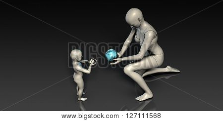 Mother and Son Holding Earth Globe Planet Together 3D Illustration Render