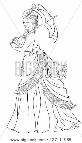 Victorian style dressed lady with umbrella. Print for the coloring book. Line art vector illustration.