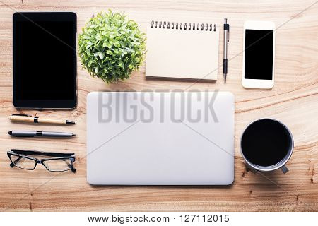 Wooden Desk With Office Tools