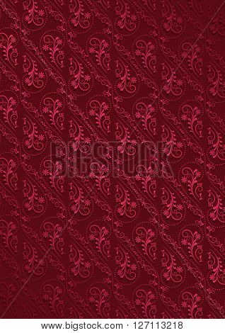 Claret background with openwork vintage seamless crimson pattern