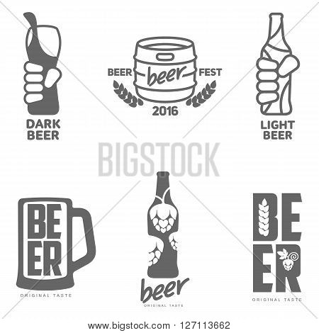 Set beer logos, labels isolated alcohol, drunken icons, hop, mug, bottle, hand holding a bottle of beer barrel, beer label, vector simple black logos on a white background, set of elements