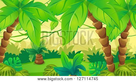 Vector cartoon game background of jungle landscape with lianas and palm trees
