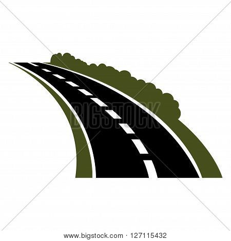 Vector black car road icon. Highway symbol. Road sign. Winding paved road icon with green grassy roadside and curly bushes