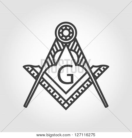 Vector grey masonic freemasonry emblem icon on grey background. Masonic square compass God symbol. Trendy alchemy element. Religion philosophy spirituality occultism chemistry science magic