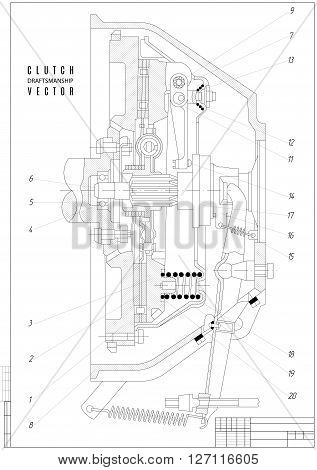 technical drawing the clutch construction draft with vertical frame on the white background. stock vector illustration eps10