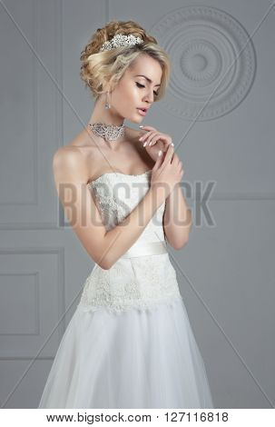 Close up portrait of young gorgeous bride ** Note: Soft Focus at 100%, best at smaller sizes