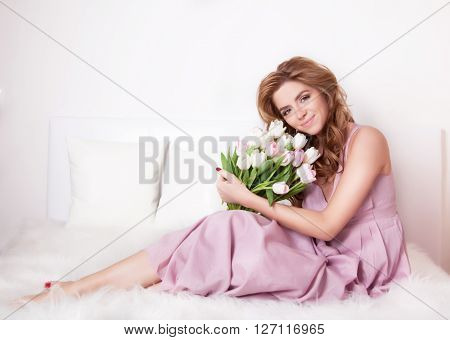 Smiling Woman With Flowers.