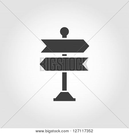 Vector black signpost icon on white background.