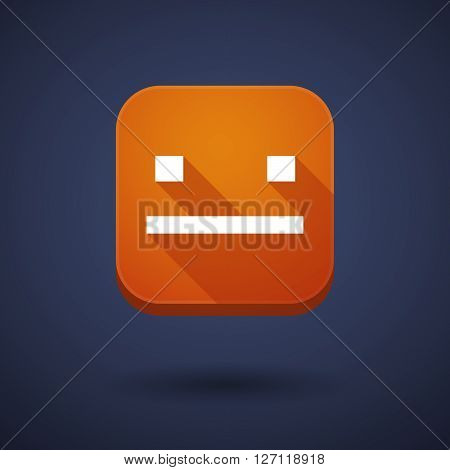Square Long Shadow App Button With A Emotionless Text Face