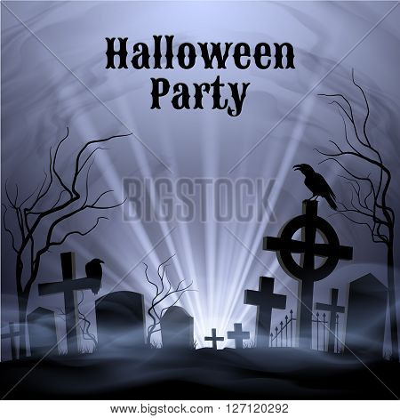 Spooky graveyard on the H alloween Night Halloween Party poster in black and white