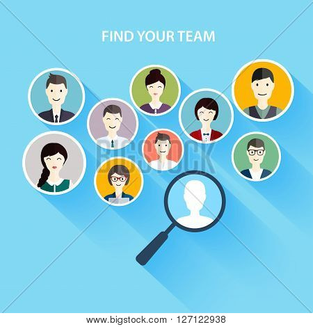 Job search and career. Human resources management and head hunter searching. Social Network and Social Media Concept. Business flat vector illustration.