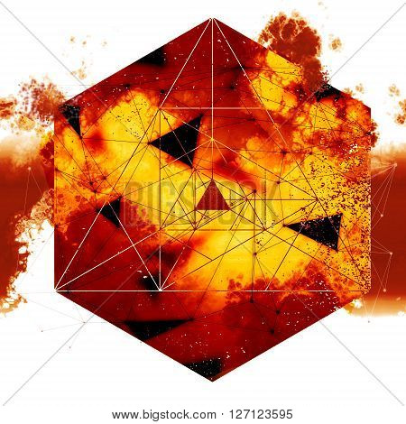 sacred geometry hell filre explosion, geometry design mixed with burning clouds and smoke