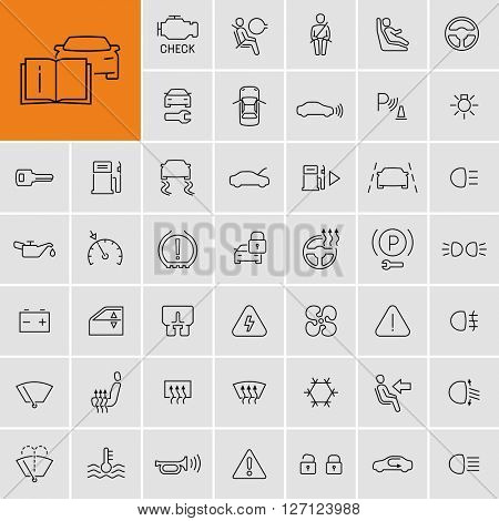 Car dashboard vector icons set