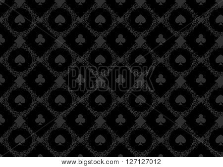 Black casino gambling poker background or dark  damask pattern and cards symbols. Seamless pattern is in the swatches palette. Casino  games background vector illustration