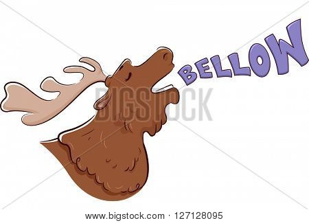 Illustration of a Moose Bellowing