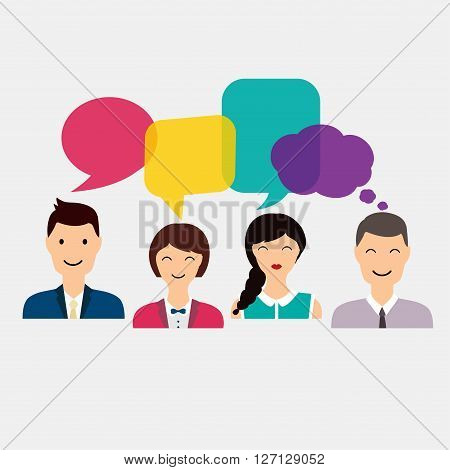 People Icons With Colorful Dialog Speech. Social Network And Social Media Concept. Business Flat Vec