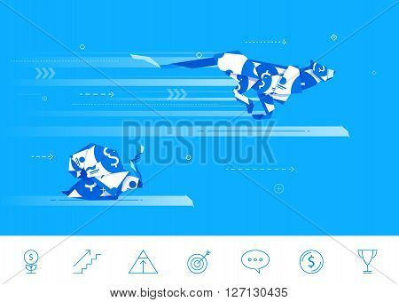 Flat design vector concept illustration. origami  snail and Cheetah compete in running. Good profit. Unsuccessful catch. Vector clipart. Icons set.