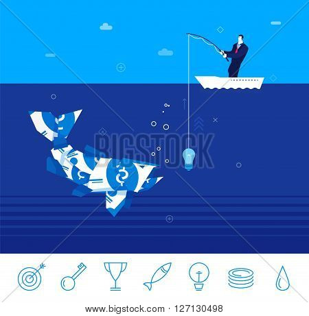 Flat design vector concept illustration. businessman catching fish from the money on the idea . Good profit. Unsuccessful catch. Vector clipart. Icons set.
