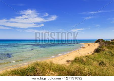 Summer seascape: The Regional Natural Park Dune Costiere.BRINDISI (Apulia)-ITALY-The park, from Torre Canne to Torre San Leonado, covers the territories of Ostuni and Fasano  along eight kilometers of coastline.