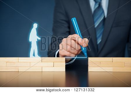 Customer care and support (help) and life insurance concept concept. Businessman representing company helps (support) customer (client) to overcome an obstacle. Problem solving with smart and simple solutions. poster