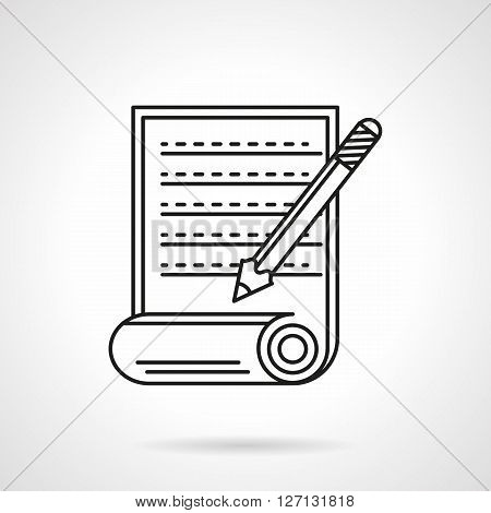 Scroll with abstract handwritten or typewritten text and pencil. Article sign. Paper documents. Flat line style vector icon. Single design element for website, business.
