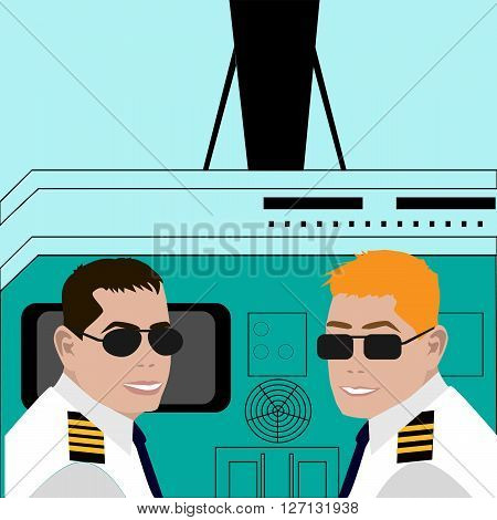 Pilot and co-pilot sitting in an airplane cabin flying and smiling. Vector illustration