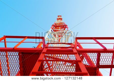 bottom view of a telecommunications towe antena, antenae