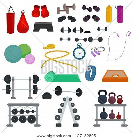 Vector illustration of sports, fitness, gym or crossfit equipments: dumbbells, mat, yoga, bar, fitness tracker, stopwatch.Elements for design website about sport, crossfit or fitness, healthy lifestyle poster